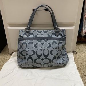 Coach grey/silver hand bag